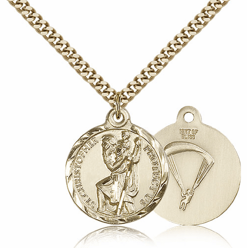 Bliss Mfg Gold-filled St Christopher US Paratrooper Military Patron Saint Medal Necklace