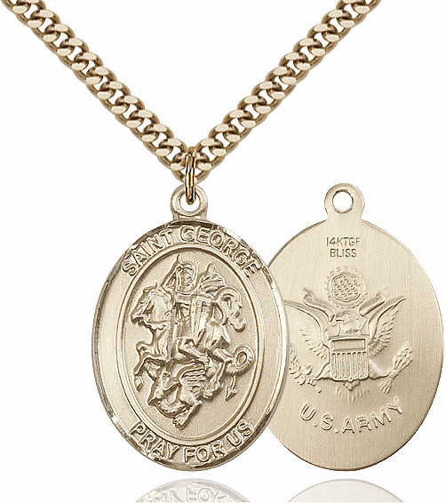 Bliss Mfg Gold Filled St. George Military Army Pendant Necklace