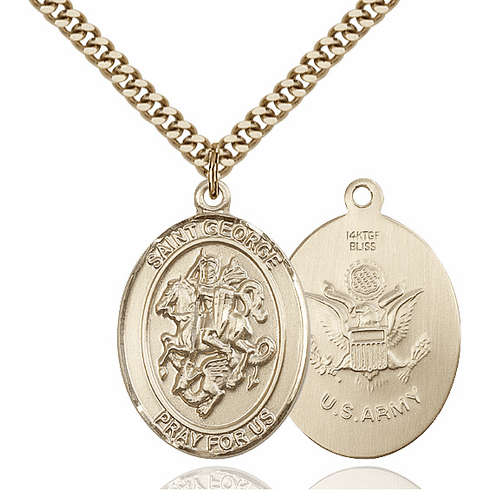 Bliss Gold Filled St. George Military Army Pendant Necklace