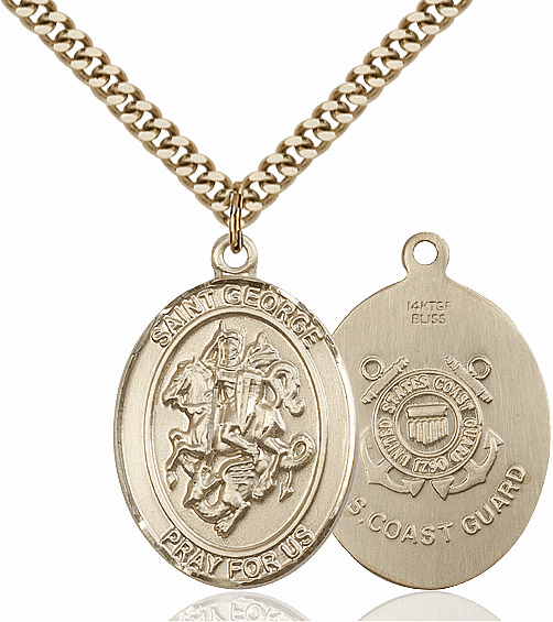 Bliss Mfg Gold Filled St. George Military Coast Guard Pendant