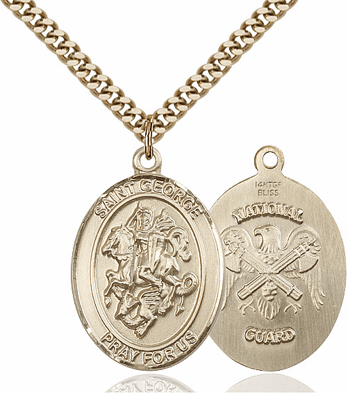Bliss Mfg Gold Filled St. George Military National Guard Pendant