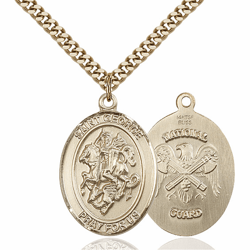 Bliss Gold Filled St. George Military National Guard Pendant