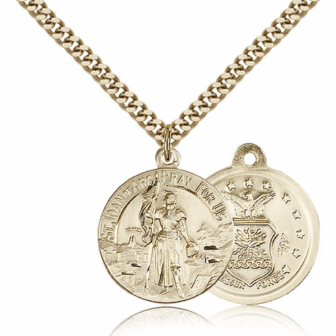 Bliss Mfg Gold-filled St Joan of Arc US Air Force Military Patron Saint Medal Necklace