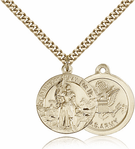 Bliss Mfg Gold-filled St Joan of Arc US Army Military Patron Saint Medal Necklace