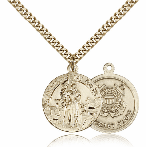 Bliss Mfg Gold-filled St Joan of Arc US Coast Guard Military Patron Saint Medal Necklace