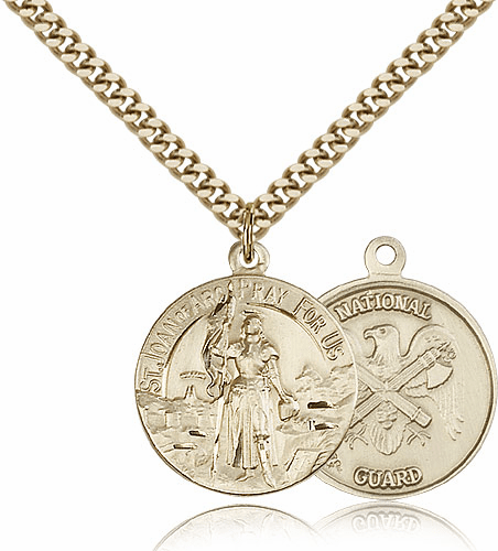 Bliss Mfg Gold-filled St Joan of Arc US National Guard Military Patron Saint Medal Necklace