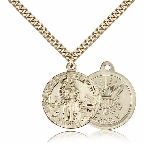 Bliss Mfg Gold-filled St Joan of Arc US Navy Military Patron Saint Medal Necklace