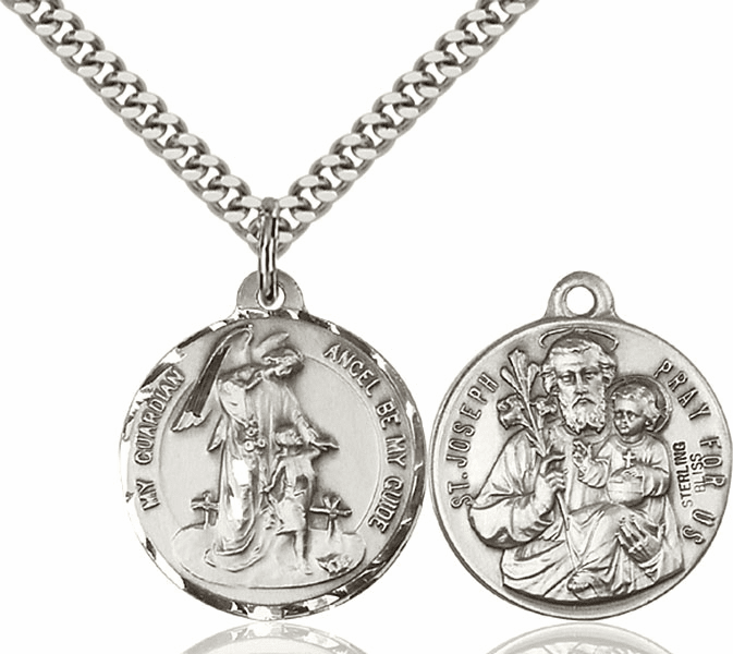 Bliss Mfg Guardian Angel and St Joseph Sterling Medal Necklace