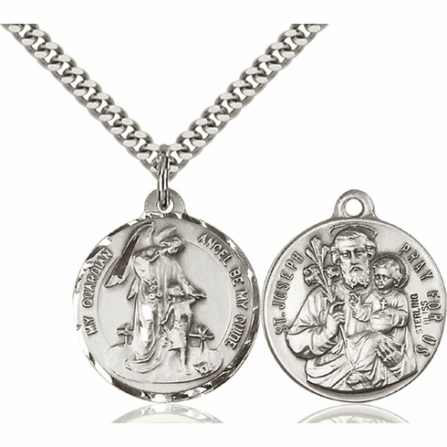 Bliss Guardian Angel and St Joseph Medal Necklace