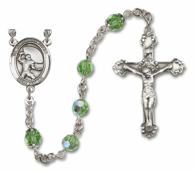 Bliss Guardian Angel Football Swarovski Crystal Sterling and Gold Rosaries - More Colors
