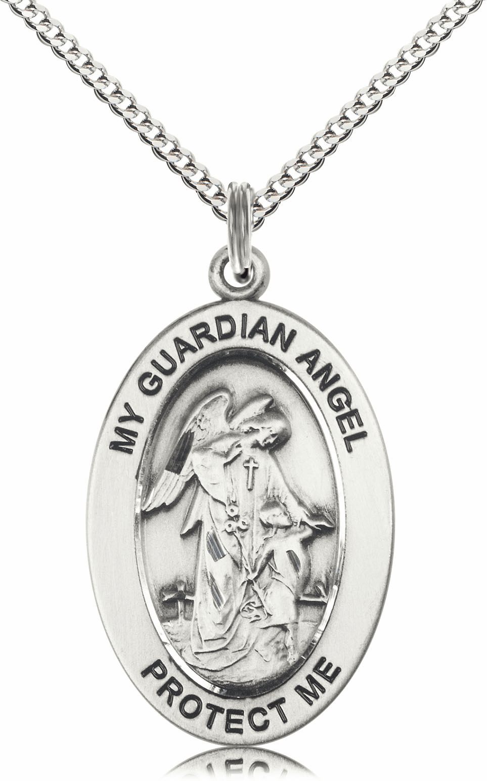 Bliss Mfg Guardian Angel w/Child Sterling Silver Medal Necklace w/Chain