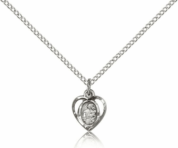 Bliss Mfg Heart St Joseph Sterling Silver Medal Pendant Necklace