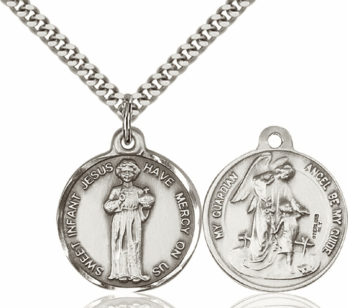 Bliss Holy Child Jesus and Guardian Angel Medal Necklace