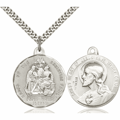 Bliss Mfg Holy Family and Sacred Heart of Jesus Sterling Medal Necklace