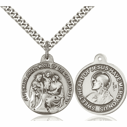 Bliss Holy Family and Sacred Heart Medal Necklace