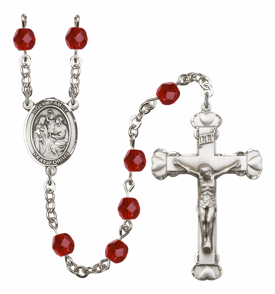 Bliss Mfg Holy Family July Ruby Birthstone Heart Rosary