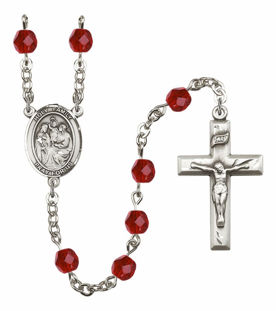 Bliss Mfg Holy Family July Ruby Birthstone Rosary