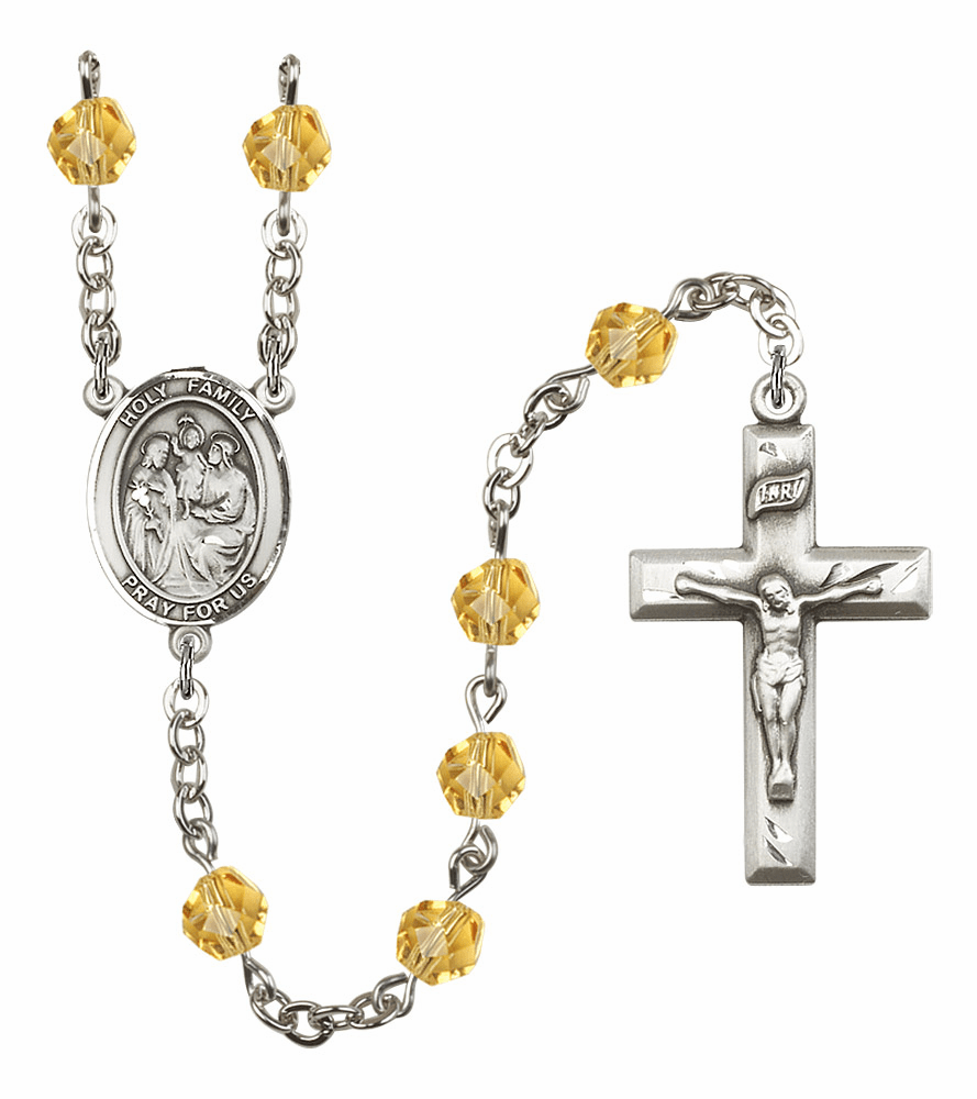 Bliss Mfg Holy Family November Topaz Birthstone Rosary