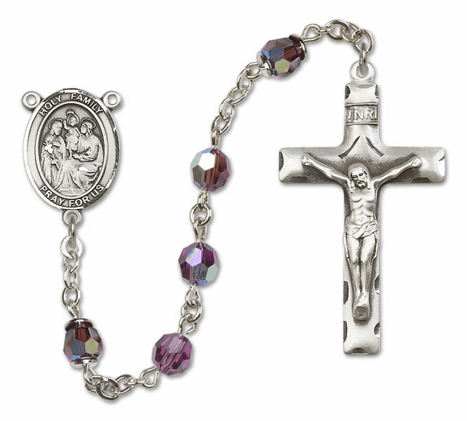 Bliss Mfg Holy Family Sterling Silver Amethyst Swarovski Rosary