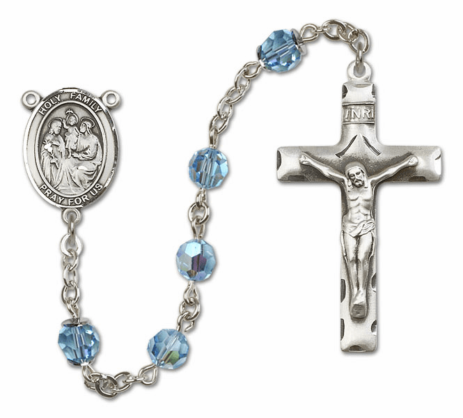 Bliss Mfg Holy Family Sterling Silver Aqua Swarovski Rosary