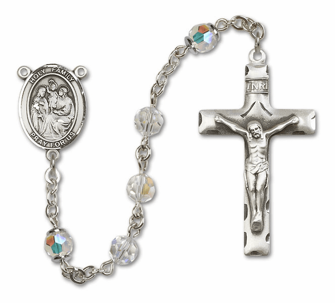 Bliss Mfg Holy Family Sterling Silver Crystal Swarovski Rosary
