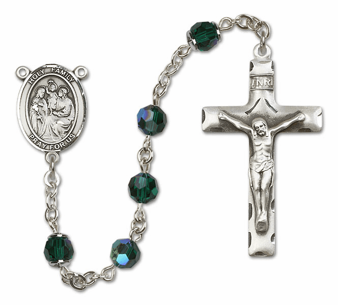 Bliss Mfg Holy Family Sterling Silver Emerald Swarovski Rosary