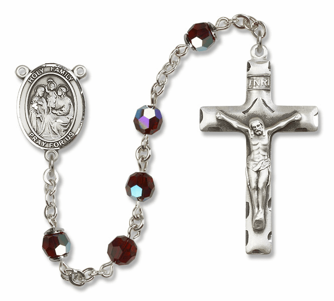 Bliss Mfg Holy Family Sterling Silver Garnet Swarovski Rosary