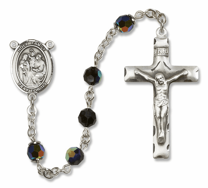 Bliss Mfg Holy Family Sterling Silver Jet Black Swarovski Rosary