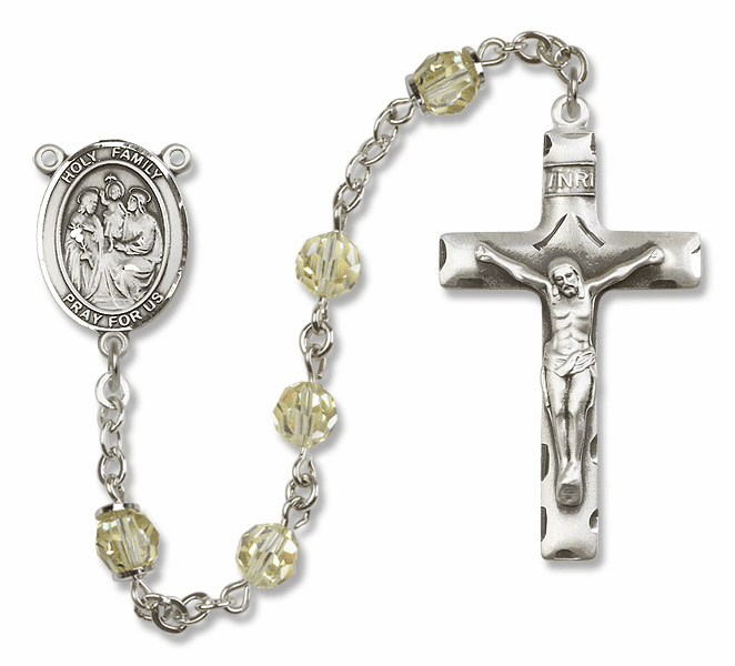 Bliss Mfg Holy Family Sterling Silver Jonquil Swarovski Rosary