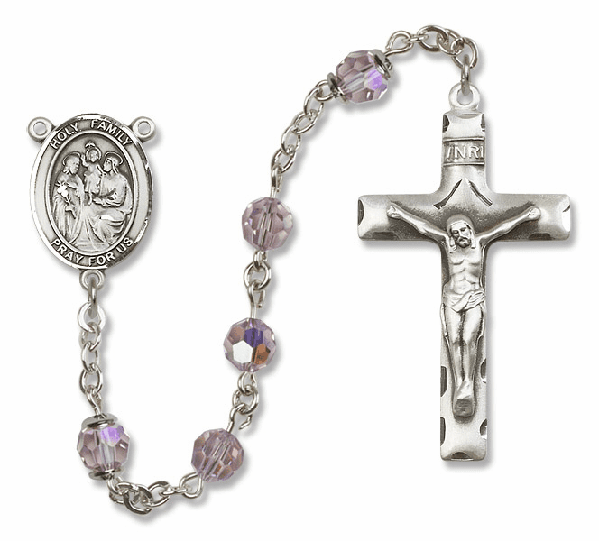 Bliss Mfg Holy Family Sterling Silver Lt Amethyst Swarovski Rosary