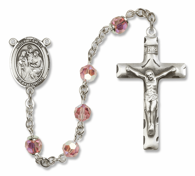 Bliss Mfg Holy Family Sterling Silver Lt Rose Swarovski Rosary