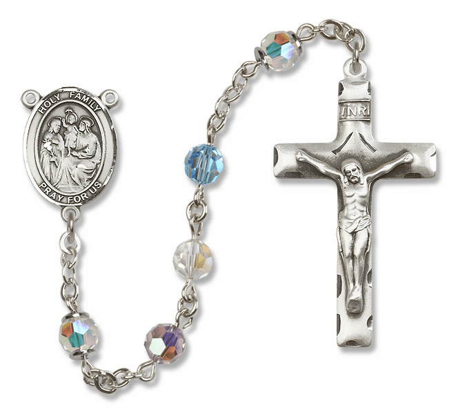 Bliss Mfg Holy Family Sterling Silver Multi-Color Swarovski Rosary