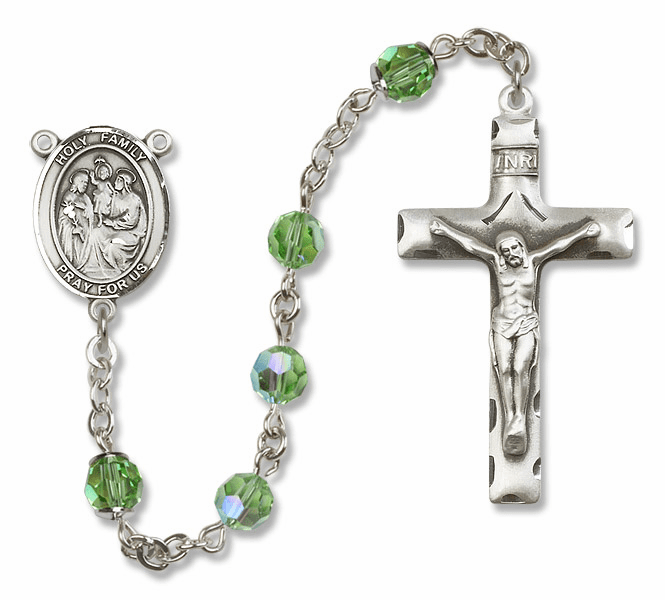 Bliss Mfg Holy Family Sterling Silver Peridot Swarovski Rosary