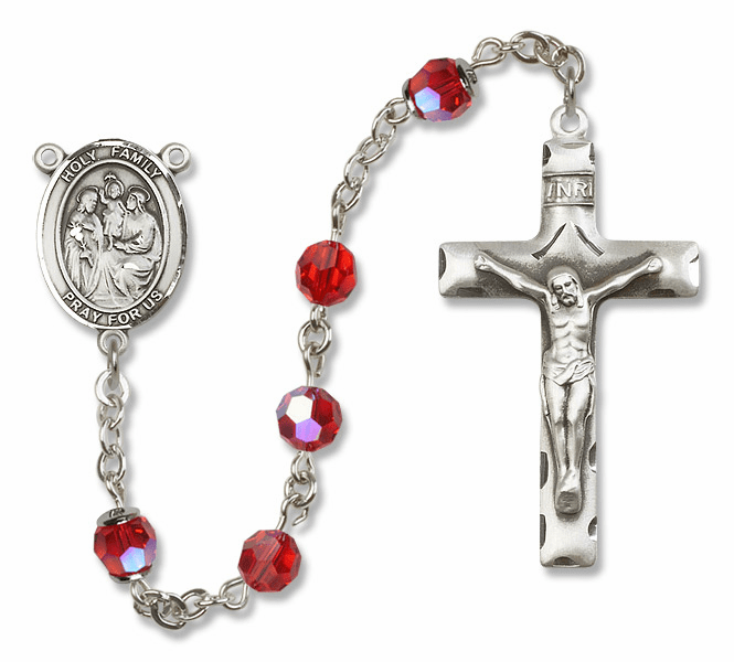 Bliss Mfg Holy Family Sterling Silver Ruby Swarovski Rosary