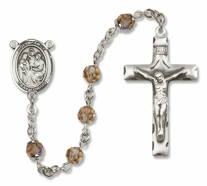 Bliss Mfg Holy Family Sterling Silver Topaz Swarovski Rosary