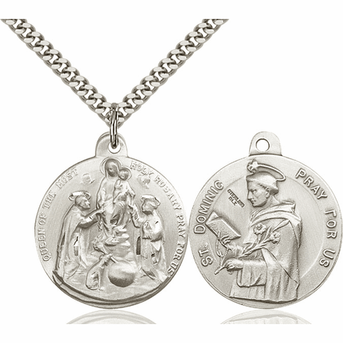 Bliss Mfg Holy Rosary and St Dominic Sterling Medal Necklace