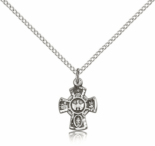 Bliss Mfg Holy Spirit 5-Way Cross Sterling Silver Medal Pendant Necklace