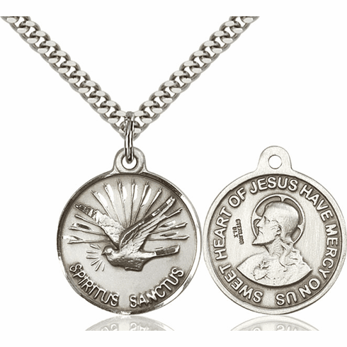 Bliss Holy Spirit and Sacred Heart Medal Necklace