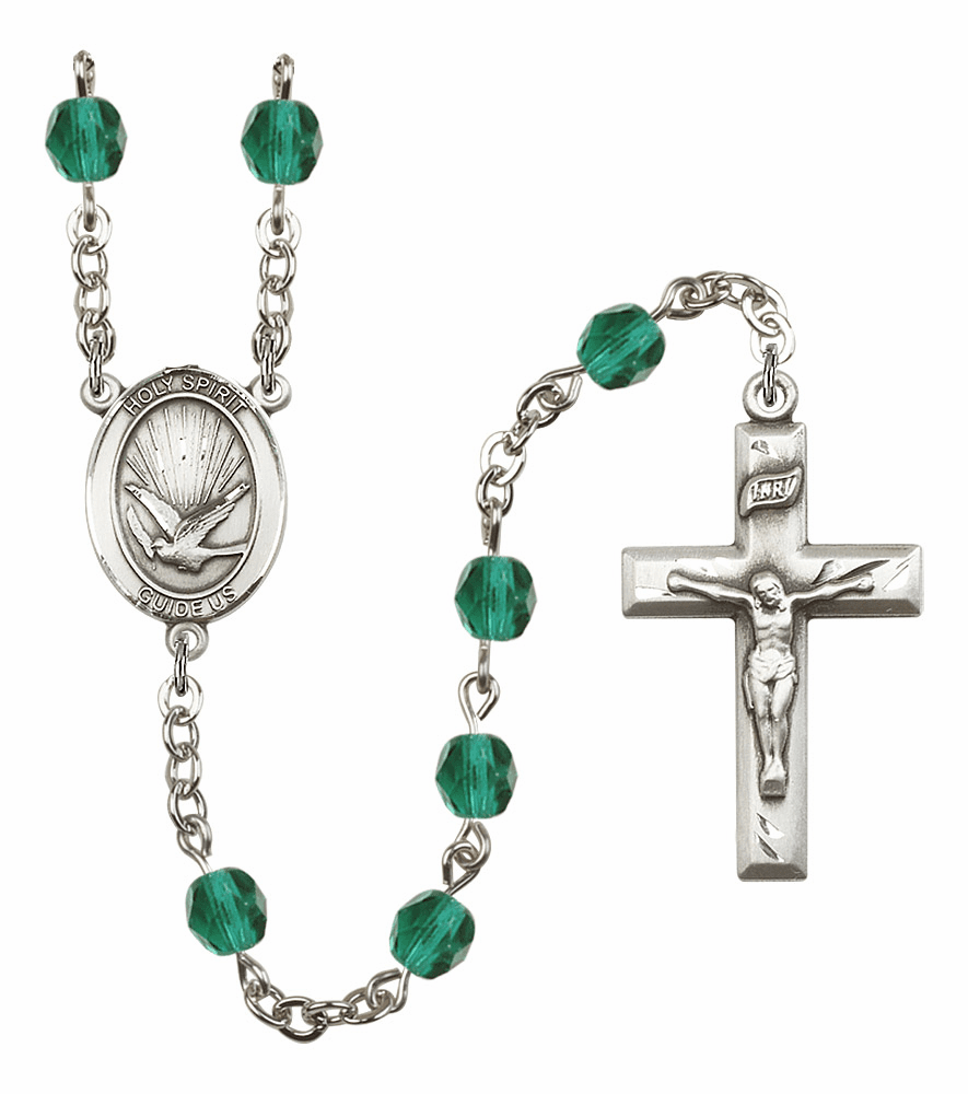 Bliss Mfg Holy Spirit December Zircon Birthstone Crystal Prayer Rosary