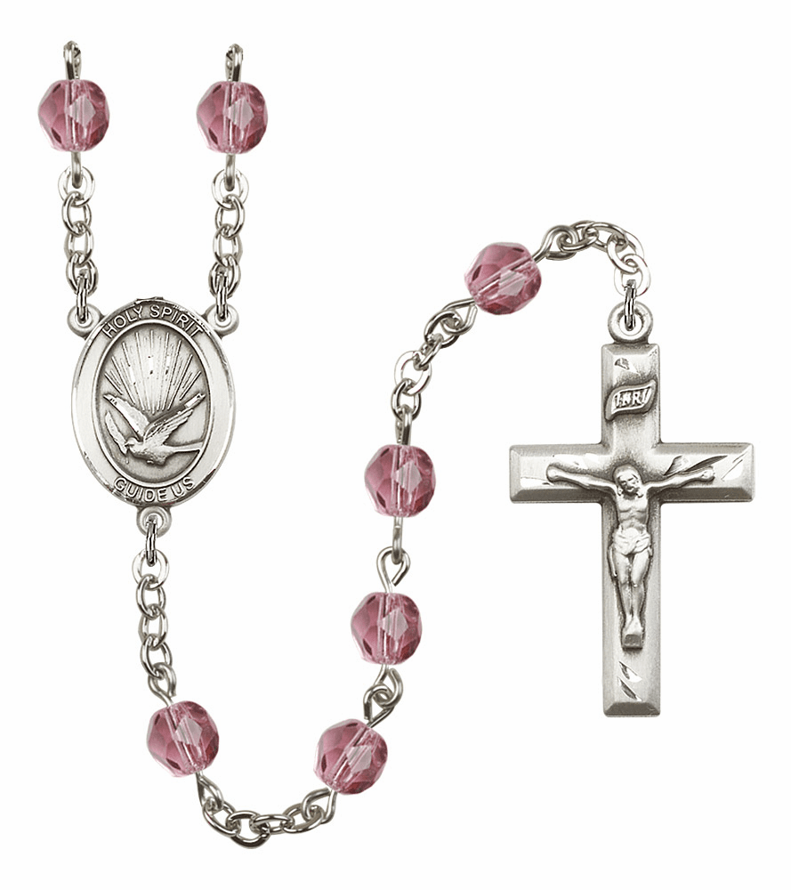 Bliss Mfg Holy Spirit February Amethyst Birthstone Crystal Prayer Rosary