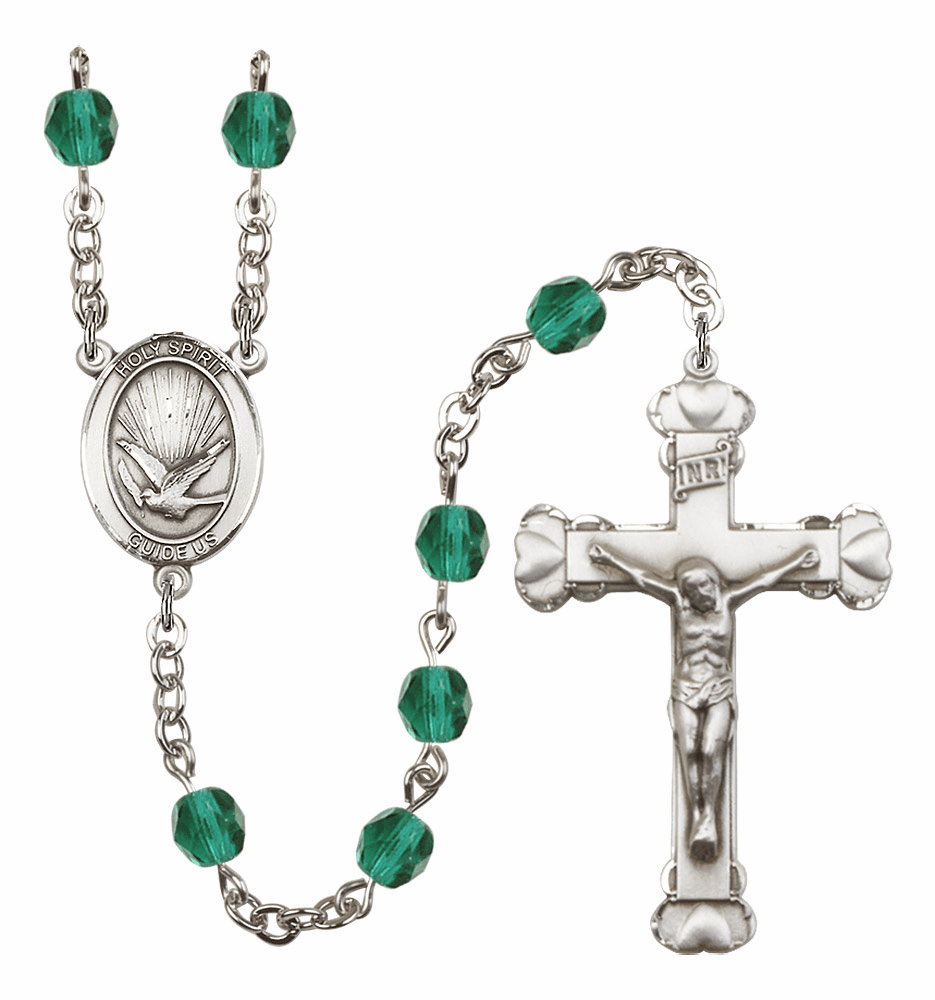 Bliss Mfg Holy Spirit Heart December Zircon Birthstone Crystal Prayer Rosary