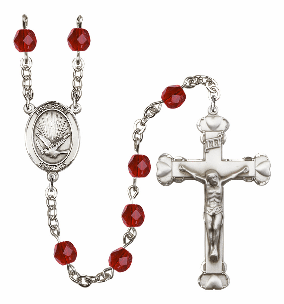 Bliss Mfg Holy Spirit Heart July Ruby Birthstone Crystal Prayer Rosary