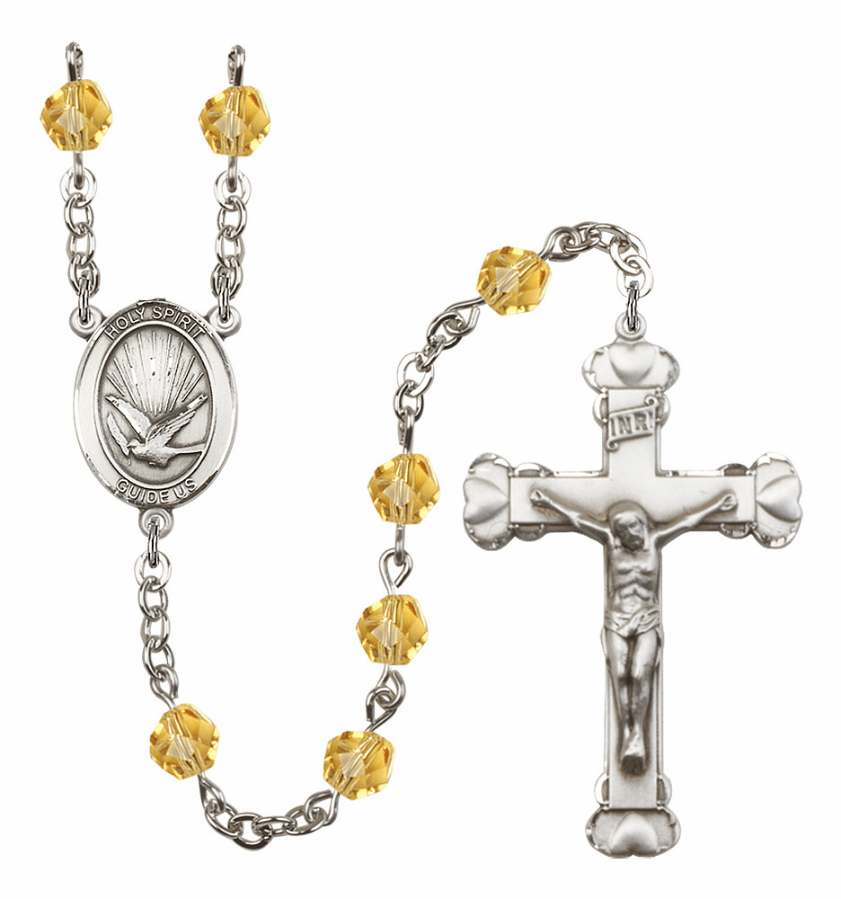 Bliss Mfg Holy Spirit Heart November Topaz Birthstone Crystal Prayer Rosary