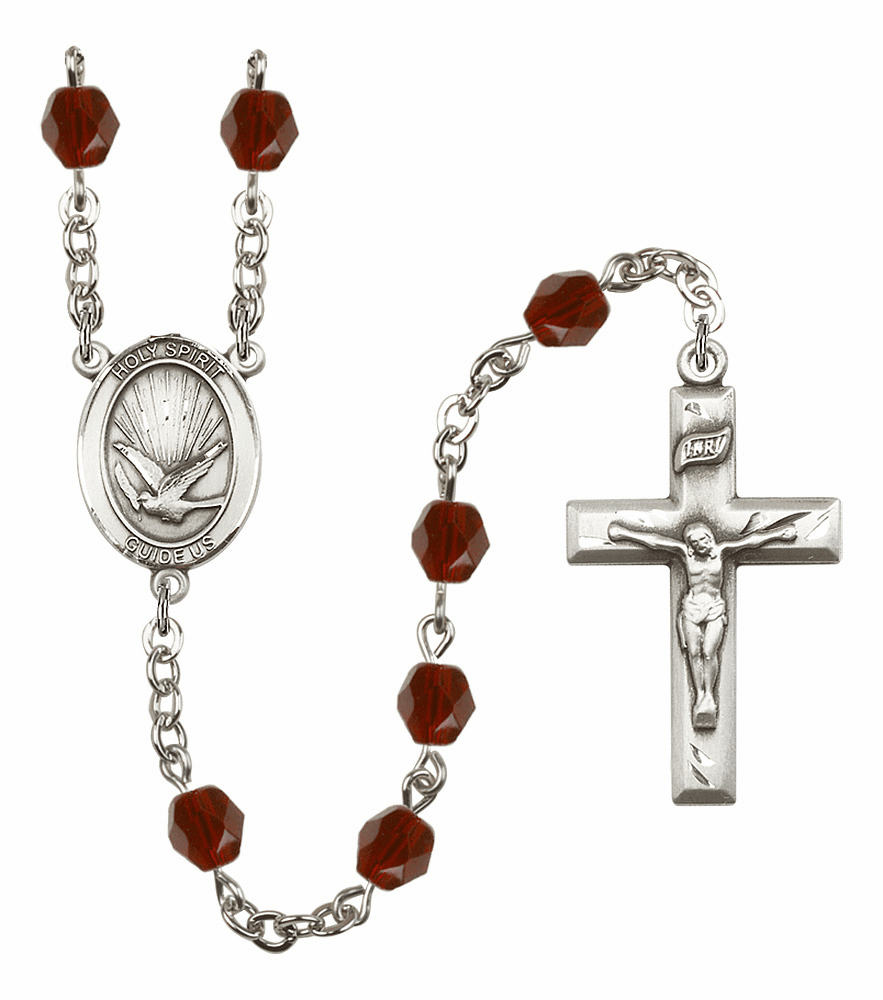 Bliss Mfg Holy Spirit January Garnet Birthstone Crystal Prayer Rosary