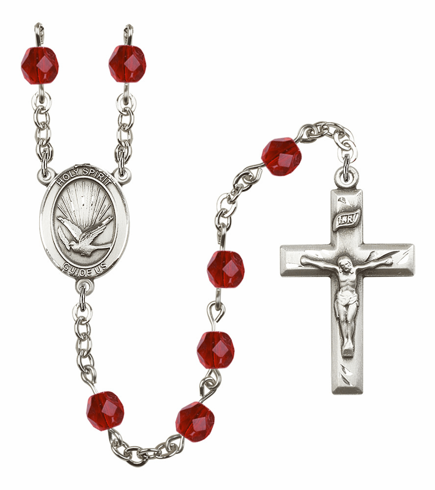 Bliss Mfg Holy Spirit July Ruby Birthstone Crystal Prayer Rosary