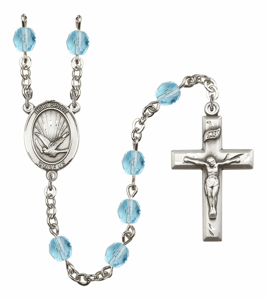 Bliss Mfg Holy Spirit March Aqua Birthstone Crystal Prayer Rosary