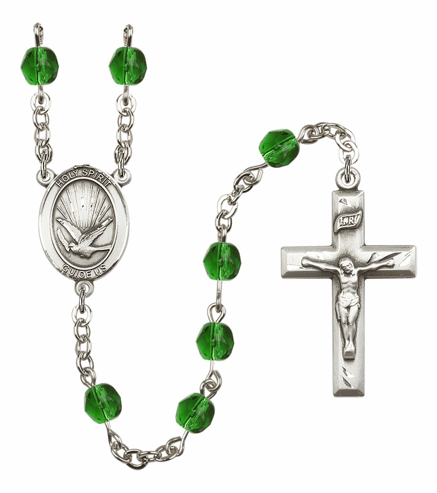 Bliss Mfg Holy Spirit May Emerald Birthstone Crystal Prayer Rosary