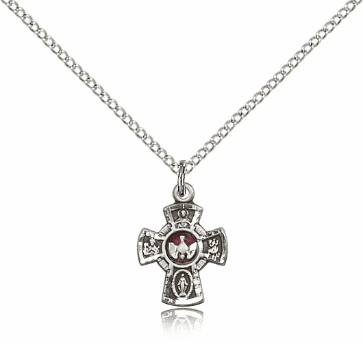 Bliss Mfg Holy Spirit Red 5-Way Cross Sterling Silver Medal Pendant Necklace