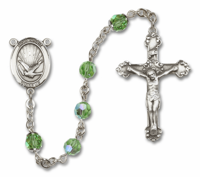 "Bliss Mfg Holy Spirit Swarovski Crystal Sterling Silver Catholic Saint Rosary - ""More Options"""
