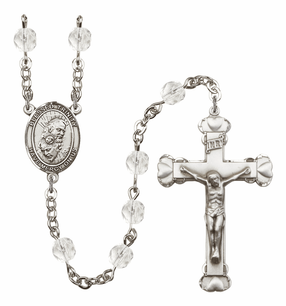 Bliss Mfg Holy Trinity Father, Son & Holy Spirit April - Crystal Birthstone Heart Rosary